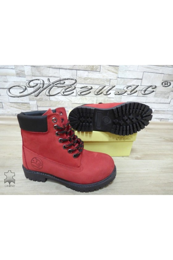 Women boots 02 red suede leather