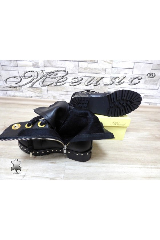Lady boots 791-1 black leather with fur