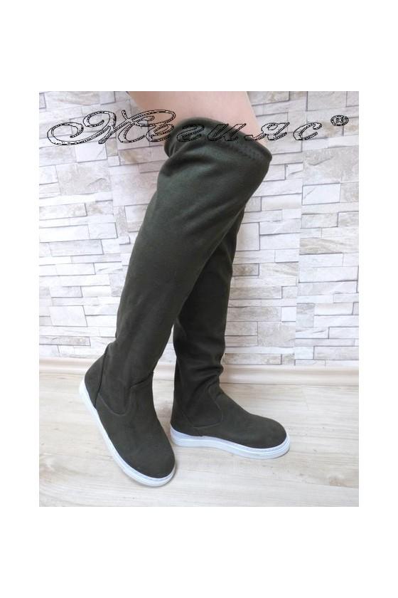 Дамски ботуши Х-1302 велур тъмно зелени тип чизми