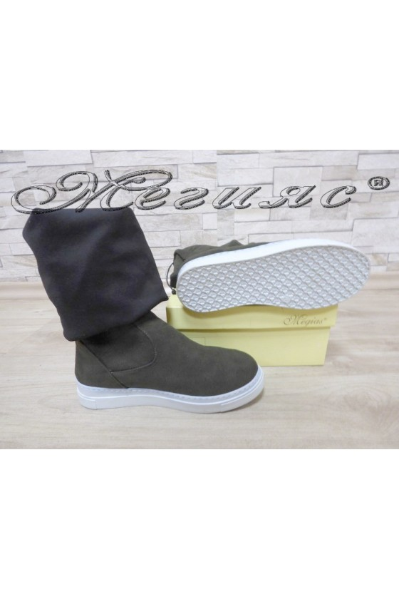 Lady long boots 1302 dark green suede