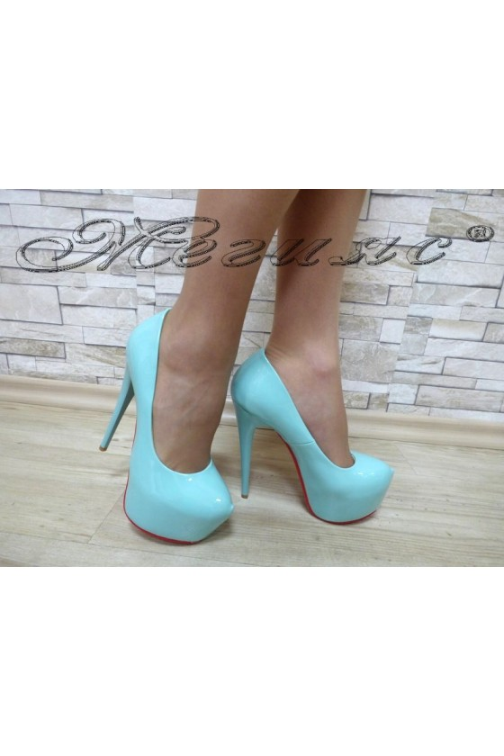 Lady elegant shoes 15-171green pattent with high heel