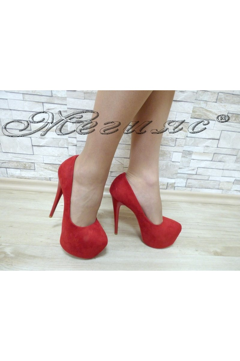 Lady elegant shoes 15-171 red suede with high heel