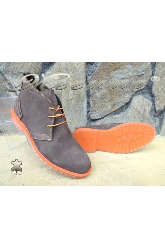 Men's boots 001 brown+orange leather