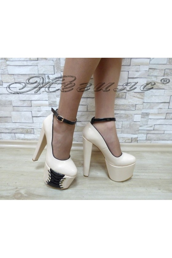 Lady elegant shoes 0211beige patent with high heel