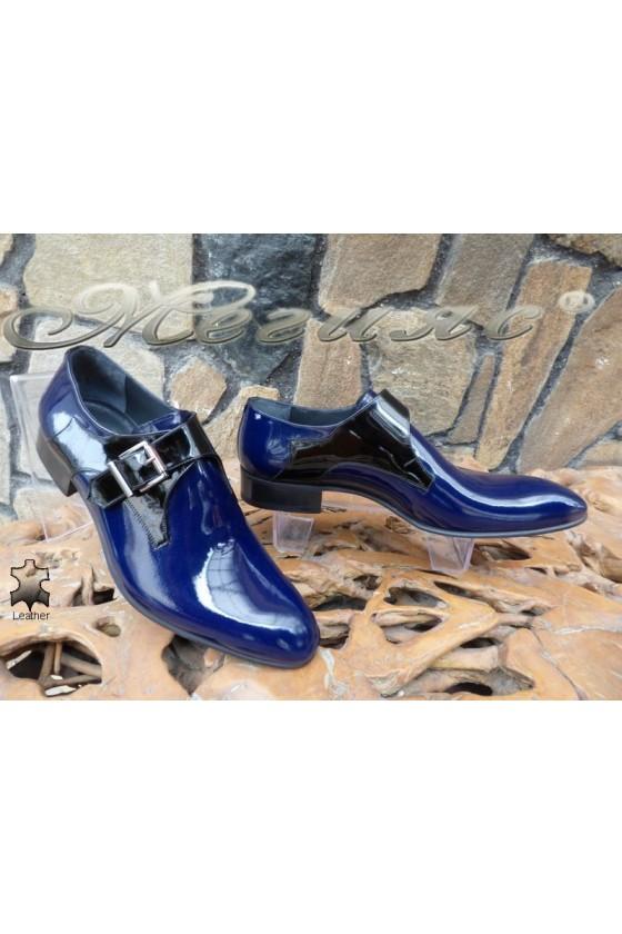 Мъжки обувки DAF 8006 тъмно сини лак елегантни