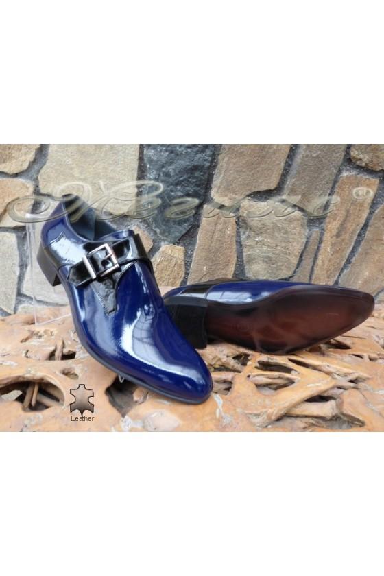 Men's elegant shoes  DAF 8006 dark blue leather