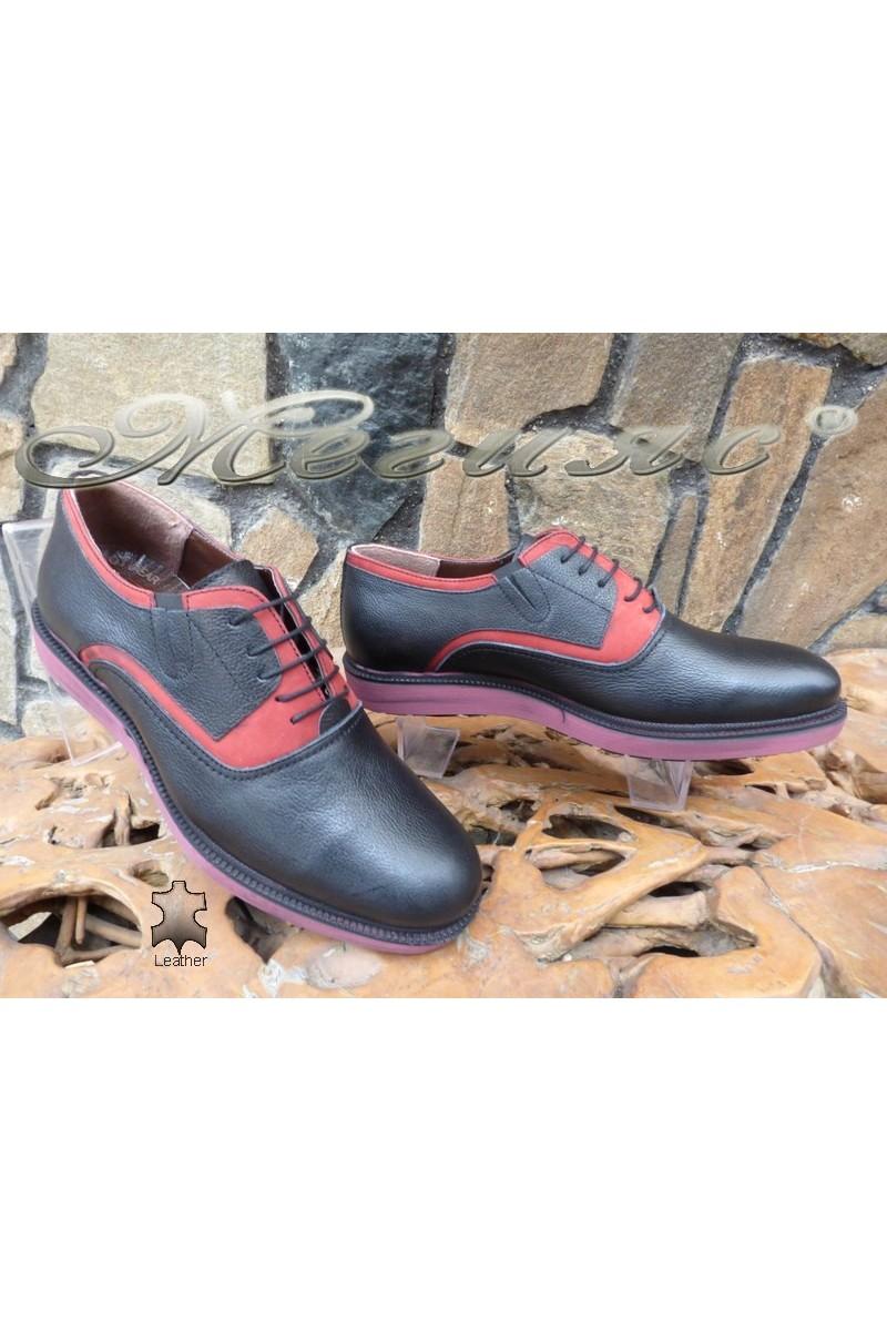 Мъжки спортни обувки 1729 черни с бордо от естествена кожа