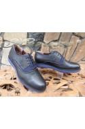 Мъжки спортни обувки 1729 черни със синьо от естествена кожа