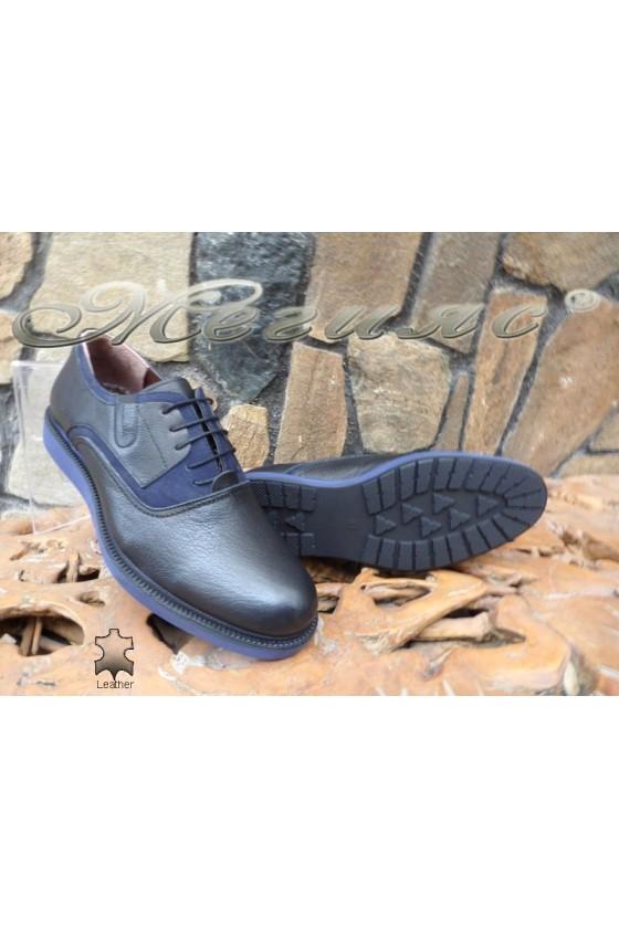 Men's sport shoes 1729 black/blue leather