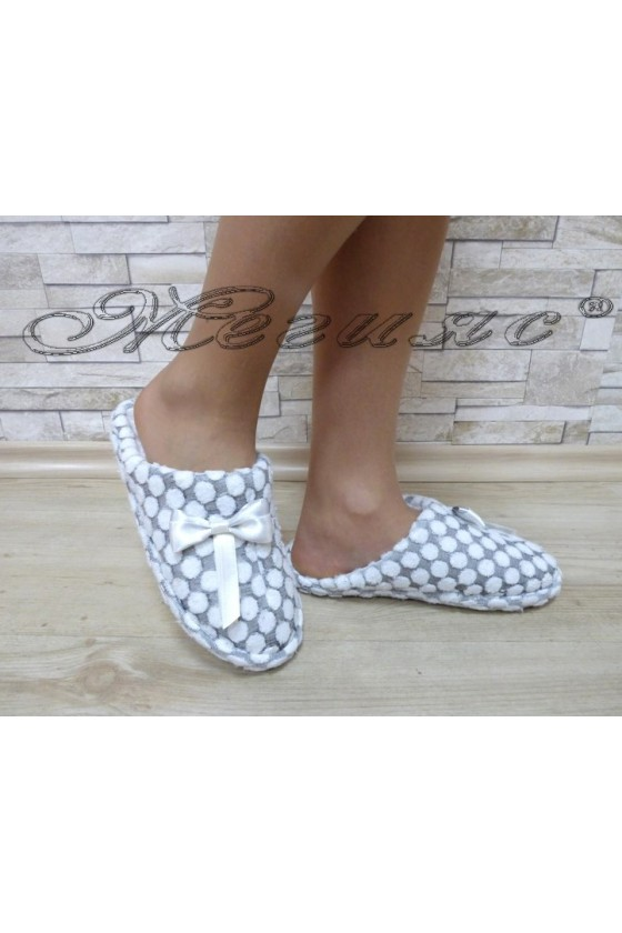Lady slippers 81 grey with white