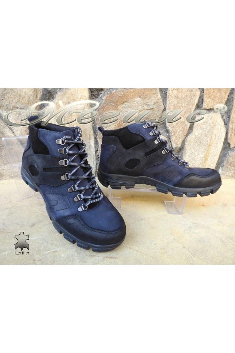 Мъжки боти 823744 черно със синьо от естествена кожа
