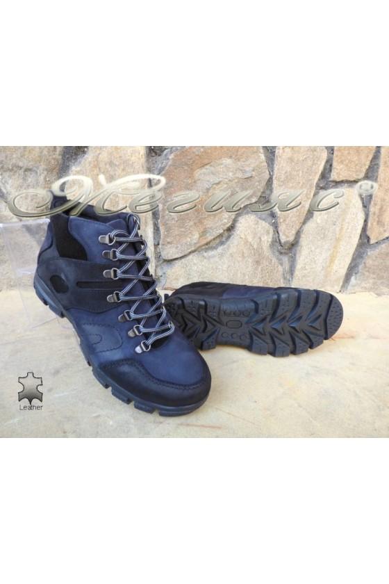 Men's boots 823744 blue+black suede