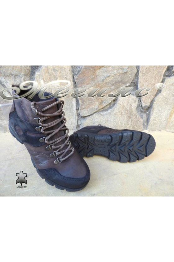 Men's boots 823744 brown+black suede