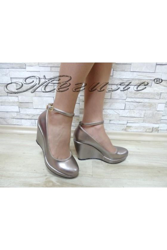 Дамски обувки 0215 бакър еко кожа на платформа