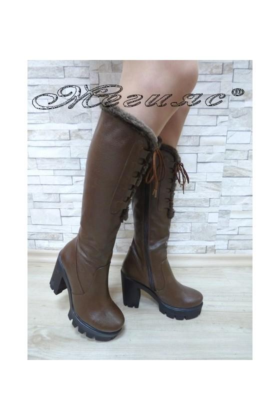 Women boots 252 brown pu