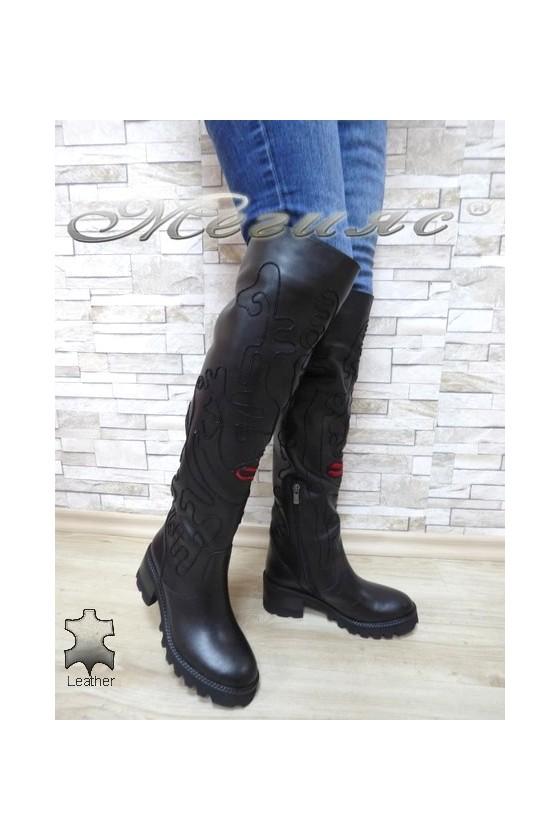 Дамски ботуши 3983 черни от естествена кожа