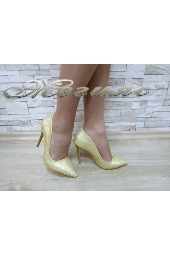 Lady elegant shoes 1600 gold textile with high heel