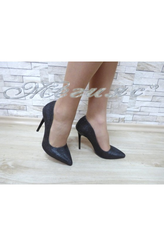 Lady elegant shoes 1600 black textile with high heel