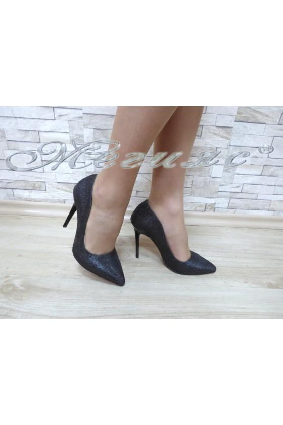 Дамски обувки 1600 черни текстил елегантни на висок ток