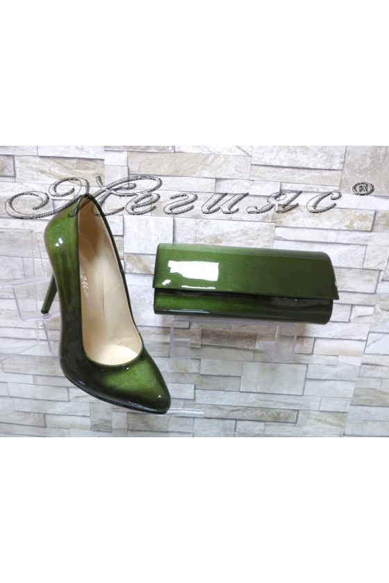 Women elegant shoes 162 green with 373