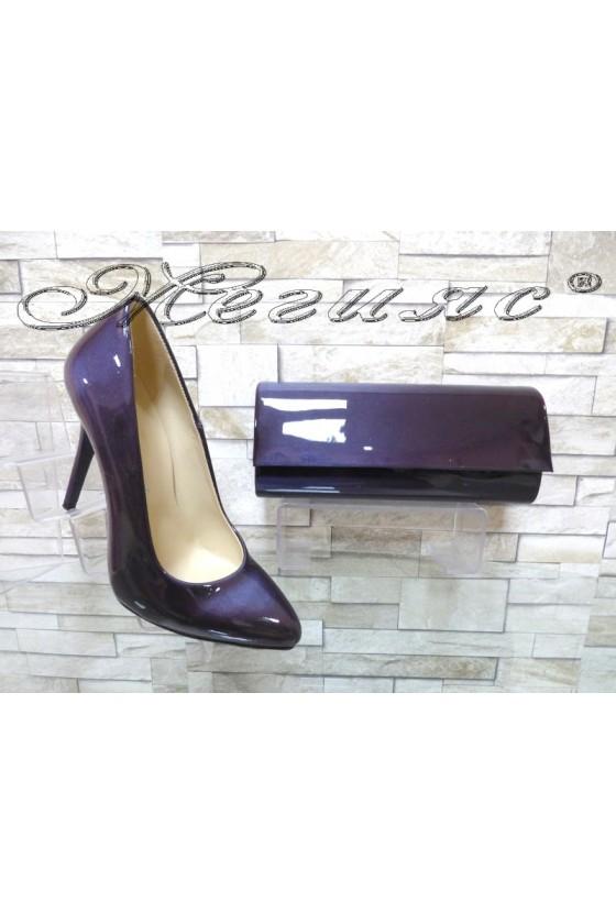 Комплект дамски обувки 162 светло лилави перла с чанта 373