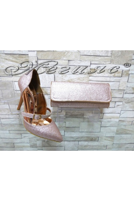 Lady elegant shoes 1478 pudra with bag 372
