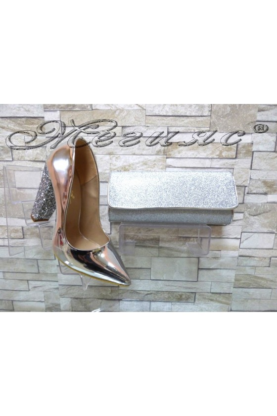 Lady elegant shoes 00542 silver with bag 372
