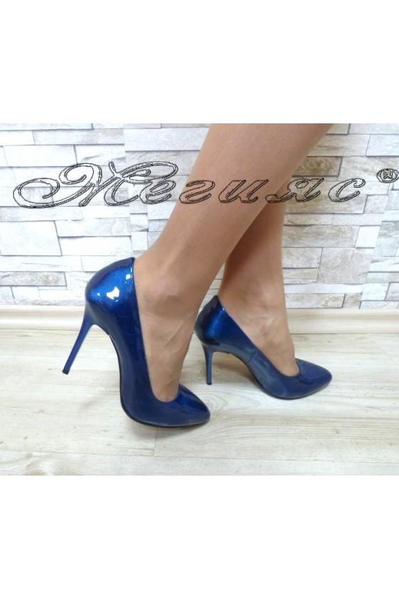 Дамски обувки 162 сини перла елегантни на ток