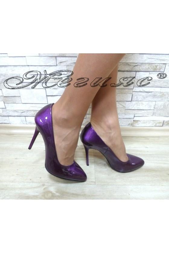 Дамски обувки 162 лилави перла елегантни на ток