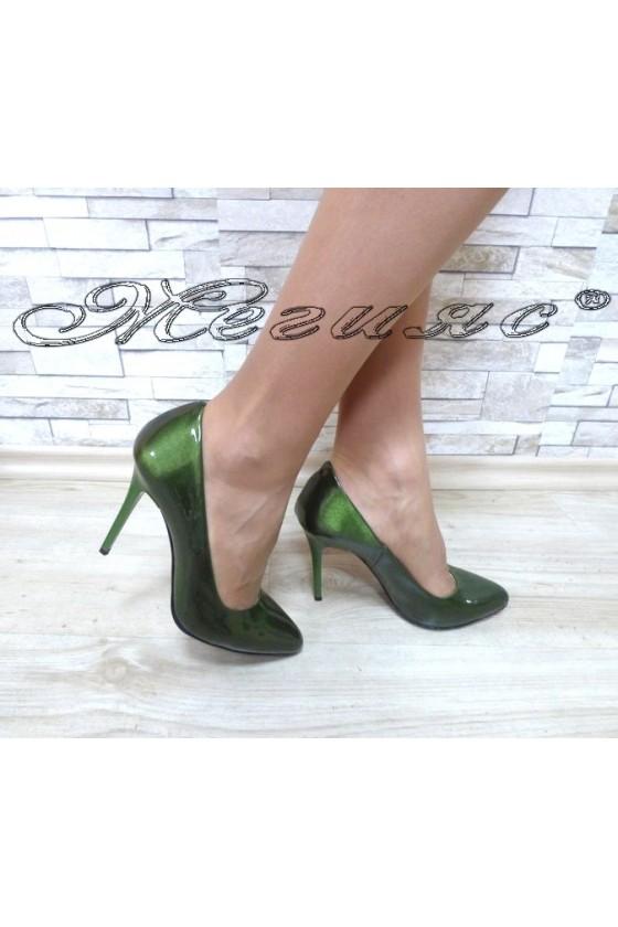 Дамски обувки 162 зелени перла елегантни на ток