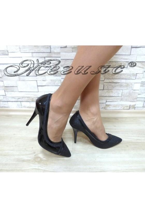 Дамски обувки 1412 черни лак и брокат елегантни на висок ток