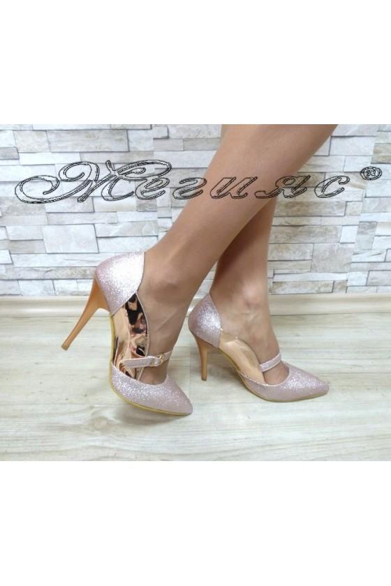 Дамски обувки 1478 пудра лак и брокат елегантни на висок ток
