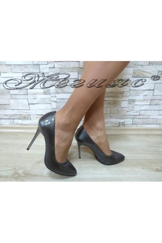 Дамски обувки 162 сиви перла  елегантни на ток