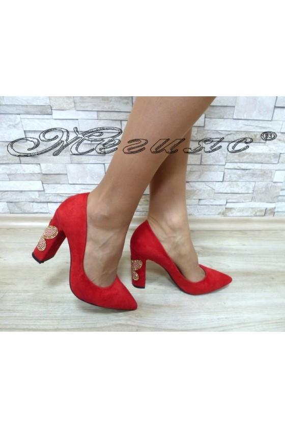 Дамски обувки 542 червени велур с камъни елегантни