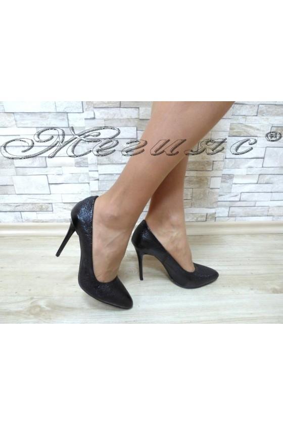 Women elegant shoes 162 black pu with high heel