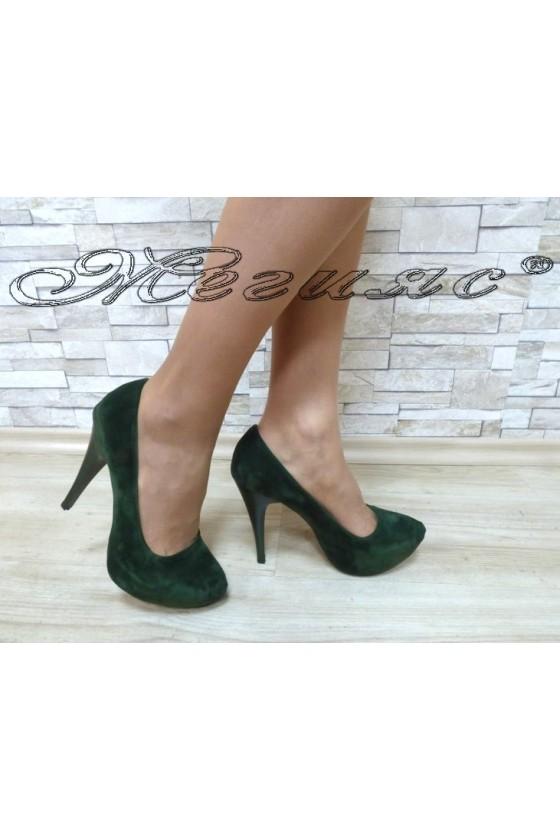 Дамски обувки 0119 зелен велур елегантни с ток и платформа