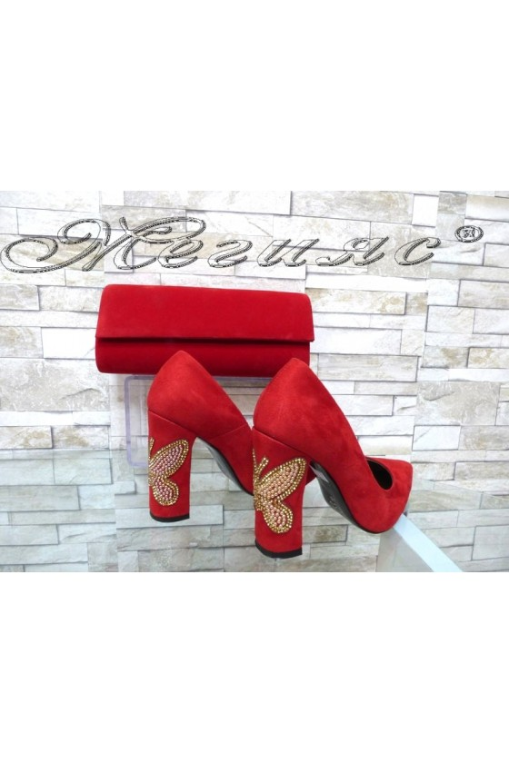 Lady elegant shoes 542 red suede with bag 373