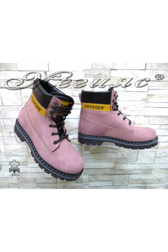 Women boots 7105 pink suede leather