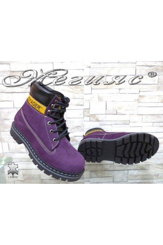 Women boots 7105 purple suede leather