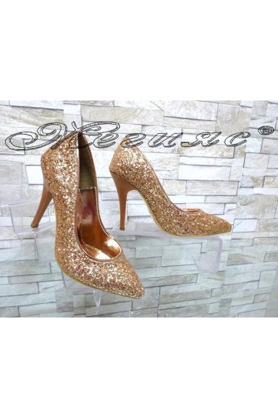 Дамски обувки 1413 бакър брокат