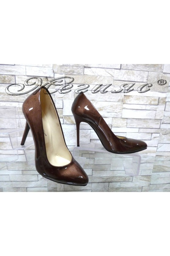Lady elegant shoes 162 brown pearl with high heel