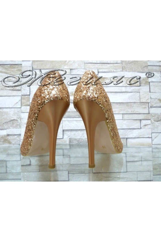 Lady elegant shoes 1413 dk.gold pu with high heel