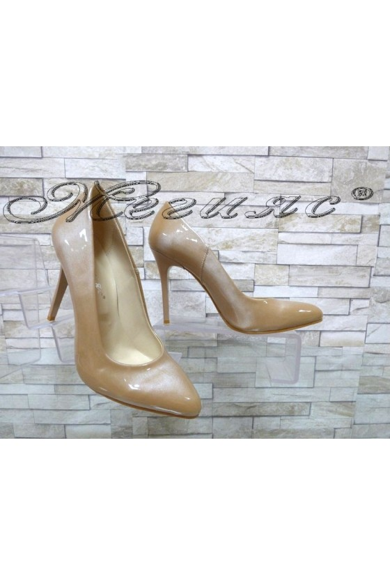 Lady elegant shoes 162 beige pearl with high heel