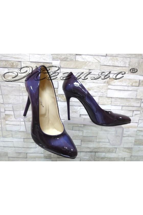 Дамски обувки 162 светло лилави перла елегантни на ток
