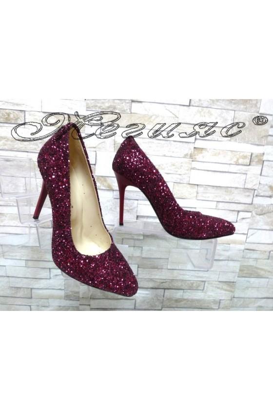 Дамски обувки 162 брокат бордо елегантни на ток