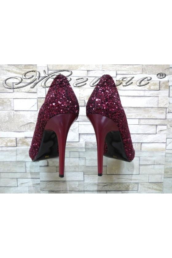 Lady elegant shoes  162 wine pu with high heel