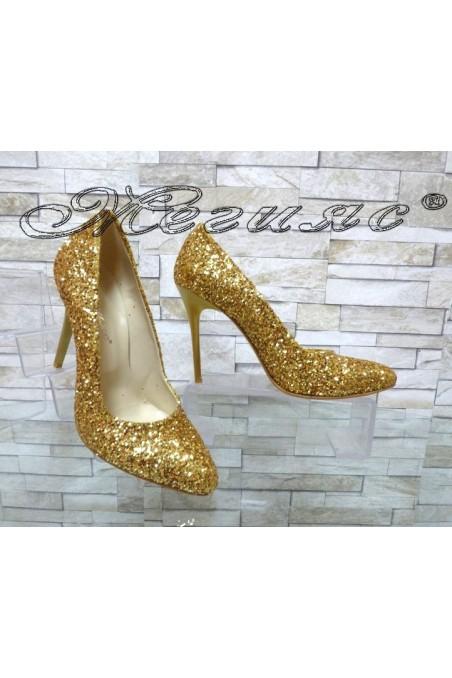 Дамски обувки 162 брокат златисти елегантни на ток