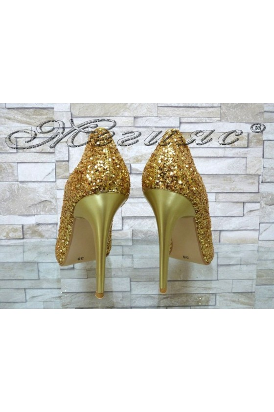 Lady elegant shoes 162 gold pu with high heel