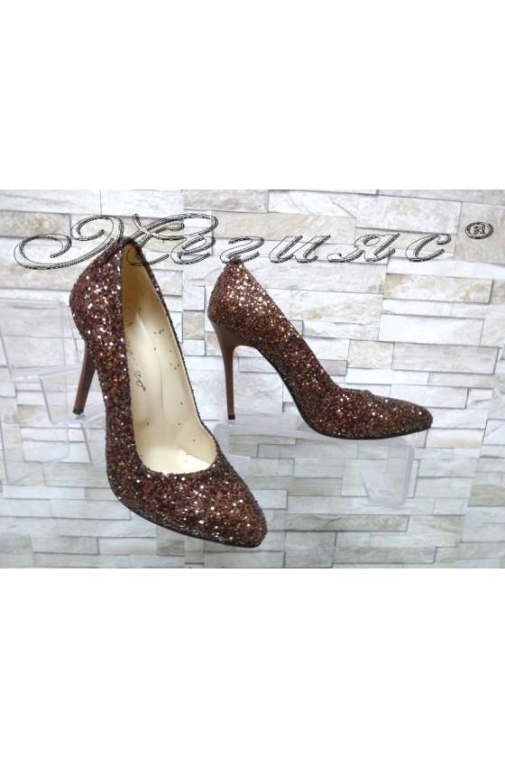 Дамски обувки 162 брокат кафяви елегантни на ток