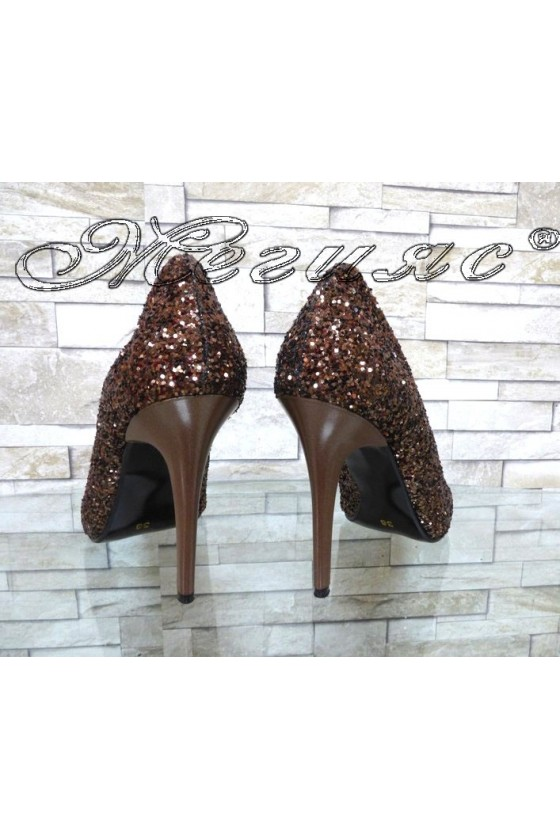 Lady elegant shoes 162 brown pu with high heel
